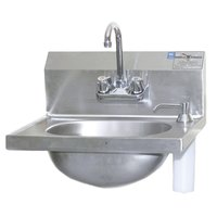 Eagle Group HSA-10-F-DS 14 3/4 inch x 18 7/8 inch Hand Sink with Gooseneck Faucet, Deck Mount Soap Dispenser, and Basket Drain