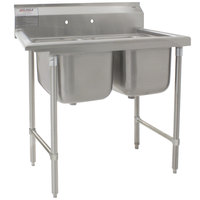 Eagle Group 314-22-2 53 1/2 inch x 29 3/4 inch Two Bowl Stainless Steel Commercial Compartment Sink