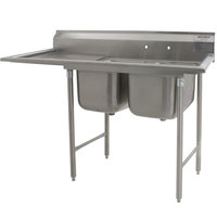 Eagle Group 314-24-2-18 72 3/4 inch x 31 3/4 inch Two Bowl Stainless Steel Commercial Compartment Sink with Drainboard