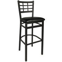BFM Seating 2163BBLV-SB Marietta Sand Black Steel Bar Height Chair with 2 inch Black Vinyl Seat