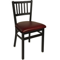 BFM Seating 2090CBUV-SB Troy Sand Black Steel Side Chair with 2 inch Burgundy Vinyl Seat