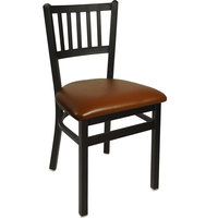 BFM Seating 2090CLBV-SB Troy Sand Black Steel Side Chair with 2 inch Light Brown Vinyl Seat