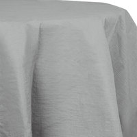 Creative Converting 923281 82 inch Shimmering Silver OctyRound Tissue / Poly Table Cover - 12/Case