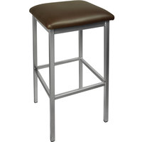 BFM Seating 2510BDBV-SV Trent Silver Steel Barstool with 2 inch Dark Brown Vinyl Seat