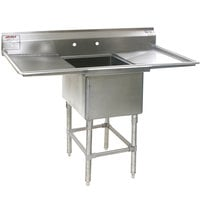 Eagle Group FN2018-1-18-14/3 One 20 inch x 18 inch Bowl Stainless Steel Spec-Master Commercial Compartment Sink with Two 18 inch Drainboards