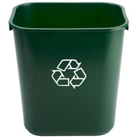 Continental 1358-2 13 Qt. Green Recycling Wastebasket