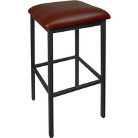 BFM Seating 2510BBUV-SB Trent Sand Black Steel Barstool with 2 inch Burgundy Vinyl Seat