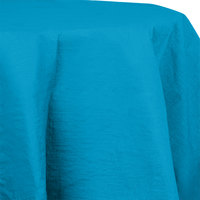 Creative Converting 923131 82 inch Turquoise OctyRound Tissue / Poly Table Cover - 12 / Case
