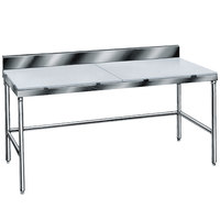 Advance Tabco TSPS-245 Poly Top Work Table 24 inch x 60 inch with 6 inch Backsplash - Open Base