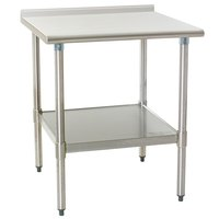 Eagle Group UT2424EB 24 inch x 24 inch Stainless Steel Work Table with Undershelf and 1 1/2 inch Backsplash