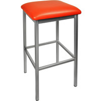BFM Seating 2510BRDV-SV Trent Silver Steel Barstool with 2 inch Red Vinyl Seat