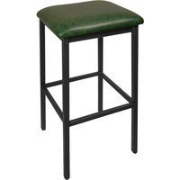 BFM Seating 2510BGNV-SB Trent Sand Black Steel Barstool with 2 inch Green Vinyl Seat
