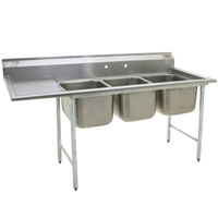 Eagle Group 412-24-3-24 Three 24 inch Bowl Stainless Steel Commercial Compartment Sink with 24 inch Drainboard