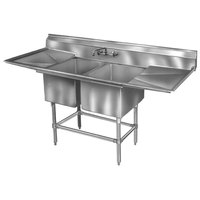 Eagle Group FN2040-2-24-14/3 Two 20 inch x 20 inch Bowl Stainless Steel Spec-Master Commercial Compartment Sink with 24 inch Drainboard