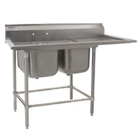 Eagle Group FN2840-2-24-14/3 Two 28 inch x 20 inch Bowl Stainless Steel Spec-Master Commercial Compartment Sink with 24 inch Drainboard