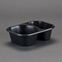 Genpak 55216 Dual Ovenable 2-Compartment Food Pan - 7 inch x 5 inch x 1 1/2 inch - 500 / Case