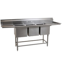 Eagle Group FN2060-3-24-14/3 Three 20 inch x 20 inch Bowl Stainless Steel Spec-Master Commercial Compartment Sink with Two 24 inch Drainboards