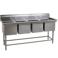 Eagle Group FN2080-4-14/3 Four 20 inch x 20 inch Bowl Stainless Steel Spec-Master Commercial Compartment Sink
