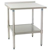 "Eagle Group UT3030SB 30"" x 30"" Stainless Steel Work Table with Undershelf and 1 1/2"" Backsplash"