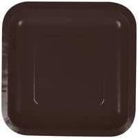Creative Converting 453038 7 inch Chocolate Brown Square Paper Plate - 180/Case