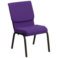 Purple 18 1/2 inch Wide Church Chair with Gold Vein Frame