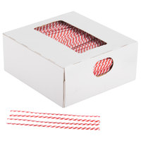Bedford Industries Inc. 4 inch Red Stripe Laminated Bag Twist Ties - 2000 / Box