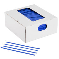 Bedford Industries Inc. 4 inch Blue Laminated Bag Twist Ties - 2000 / Box