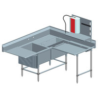Eagle Group FNPCR284022448T Two 28 inch x 20 inch Bowl Stainless Steel Spec-Master Commercial Corner Compartment Prep Sink with Right Side Prep Area and 24 inch Drainboard
