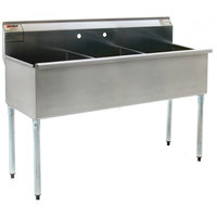 Eagle Group 1848-3-16/4 Three Compartment Stainless Steel Commercial Sink without Drainboard - 49 3/8 inch