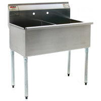 Eagle Group 2460-2-16/4 Two Compartment Stainless Steel Commercial Sink without Drainboard - 61 3/8 inch