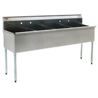 Eagle Group 2472-4-16/3 Four Compartment Stainless Steel Commercial Sink without Drainboard - 73 3/8 inch