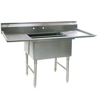 Eagle Group SFN2832-2-18-14/3 Two 32 inch x 14 inch Sideways Bowl Stainless Steel Spec-Master Commercial Compartment Sink with Two 18 inch Drainboards