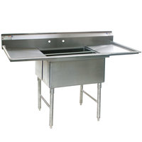 Eagle Group SFN3052-3-18-14/3 Two 32 inch x 14 inch Sideways and One 20 inch x 30 inch Regular Bowl Stainless Steel Spec-Master Commercial Compartment Sink with Two 18 inch Drainboards