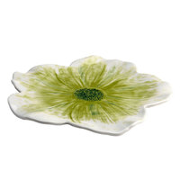 Elite Global Solutions M121FP Naturals Design Green 12 inch Round Flower Melamine Plate