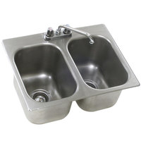 Eagle Group SR18-24-13.5-2 Two Compartment Stainless Steel Drop-In Sink with Deck Mount Faucet and Swing Nozzle - 18 inch x 24 inch x 13 1/2 inch Bowls