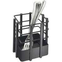 Cal-Mil 1544-13 Soho Black Single Slot Metal Flatware Organizer - 4 inch x 4 inch x 4 1/2 inch