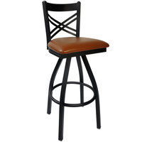 BFM Seating 2130SLBV-SB Akrin Metal Barstool with 2 inch Light Brown Vinyl Swivel Seat