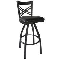 BFM Seating Akrin 2130SBLV-SB Metal Barstool with 2 inch Black Vinyl Swivel Seat