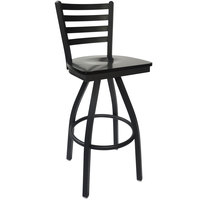 BFM Seating 2160SBLW-SB Lima Sand Black Steel Bar Height Chair with Black Wood Swivel Seat