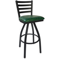 BFM Seating 2160SGNV-SB Lima Sand Black Steel Bar Height Chair with 2 inch Green Vinyl Swivel Seat