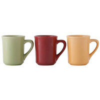 Tuxton DYM-080 DuraTux 8 oz. Tiara Butterscotch, Pistachio and Cranberry Assorted Mugs - 4 1/4 inch x 3 inch x 3 7/8 inch 36 / Case