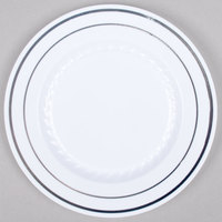 Fineline Silver Splendor 506-WH 6 inch White Plastic Plate with Silver Bands - 15 / Pack