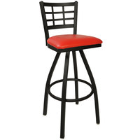 BFM Seating 2163SRDV-SB Marietta Sand Black Steel Bar Height Chair with 2 inch Red Vinyl Swivel Seat