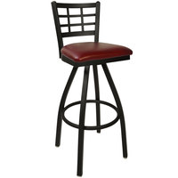 BFM Seating 2163SBUV-SB Marietta Sand Black Steel Bar Height Chair with 2 inch Burgundy Vinyl Swivel Seat
