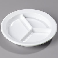 Carlisle 4351602 Dallas Ware 9 inch White Melamine 3-Compartment Plate   - 24/Case