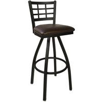 BFM Seating 2163SDBV-SB Marietta Sand Black Steel Bar Height Chair with 2 inch Dark Brown Vinyl Swivel Seat