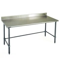 Eagle Group T2484GTE-BS 24 inch x 84 inch Open Base Stainless Steel Commercial Work Table with 4 1/2 inch Backsplash