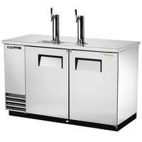 True TDD-2-S 59 inch Two Keg Stainless Steel Direct Draw Beer Dispenser with Two Taps