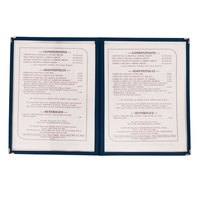 8 1/2 inch x 11 inch Two Pocket Menu Cover - Blue