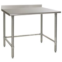 Eagle Group T3048STEM-BS 30 inch x 48 inch Open Base Stainless Steel Commercial Work Table with 4 1/2 inch Backsplash